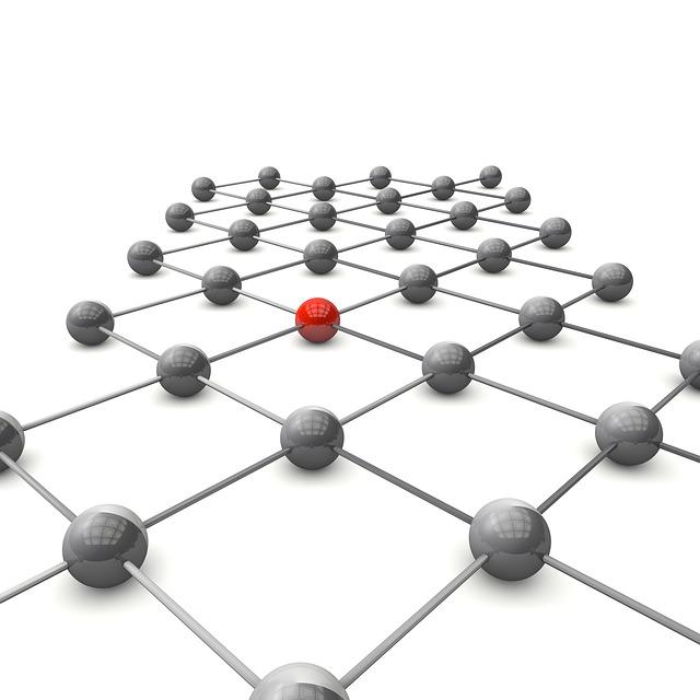 propojené kuličky s červenou kuličkou ve středu struktury